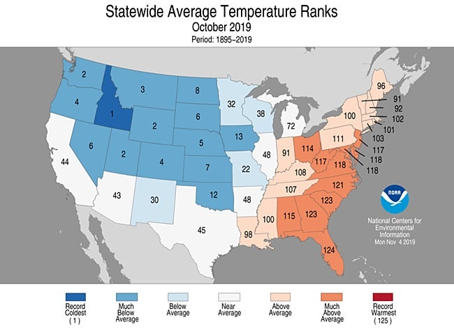 Statewide rankings for average temperature for Oct 2019