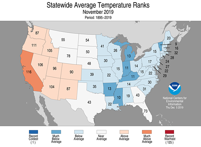 Statewide rankings for average temperature for Nov 2019