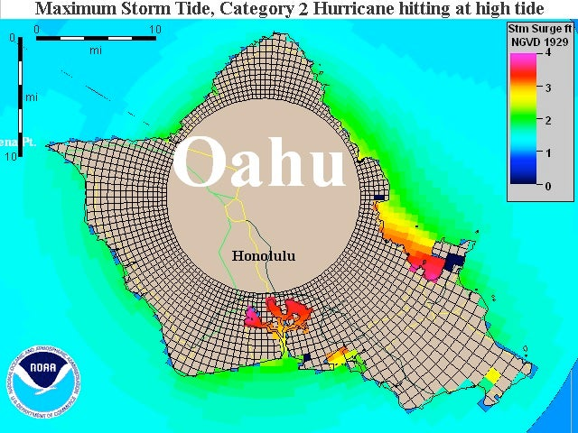 Theoretical storm surge projection for Oahu