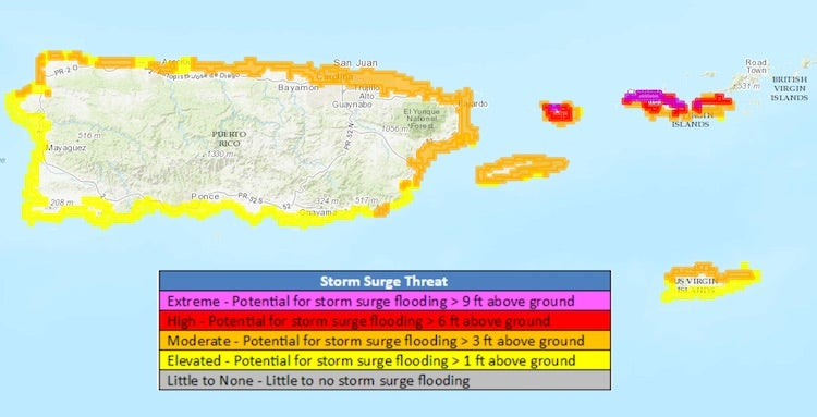 Potential storm surge across Leewards and Greater Antilles, 9/5/2017