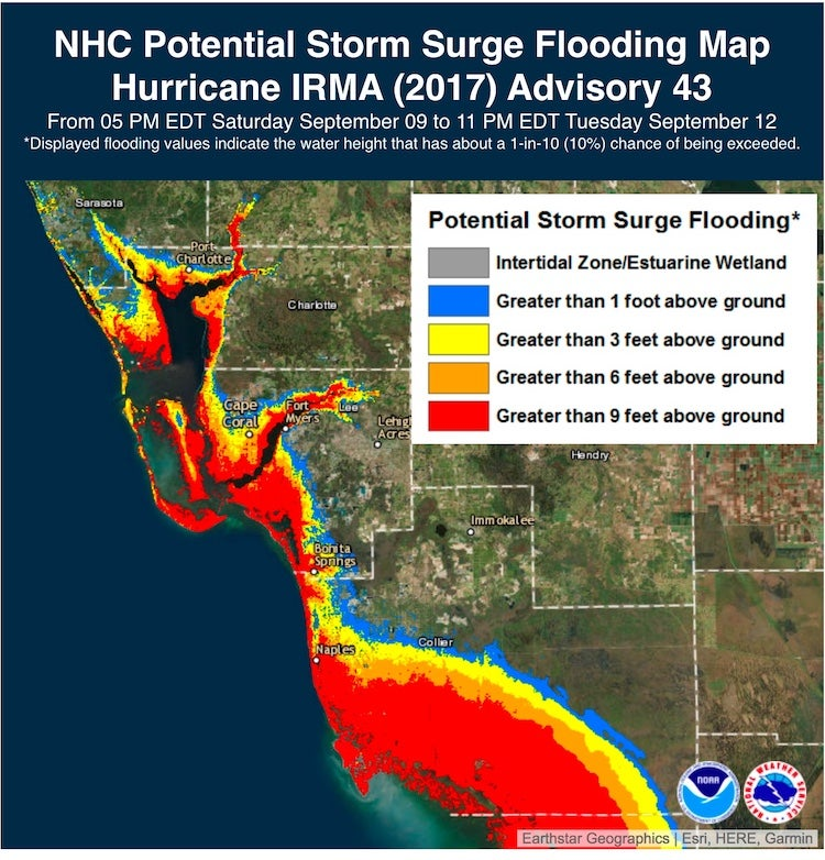 Storm surge prediction for Irma in SW Florida, Sat PM 9/9/2017