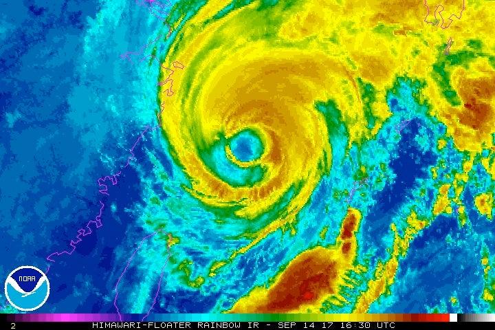 Himiwari-8 enhanced-infrared satellite image of Typhoon Talim at 12:30 pm EDT Thursday, September 14, 2017.