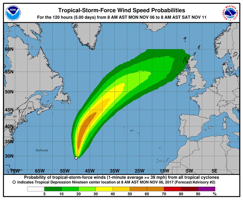 TD 19 Wind Forecast