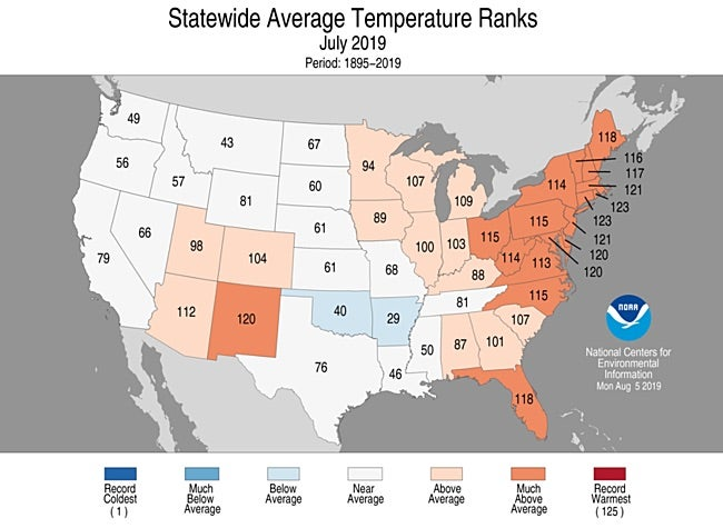 Statewide rankings for average temperature for July 2019