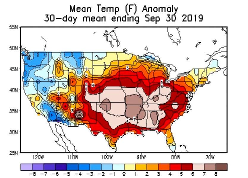 US temp anomalies, Sep 2019