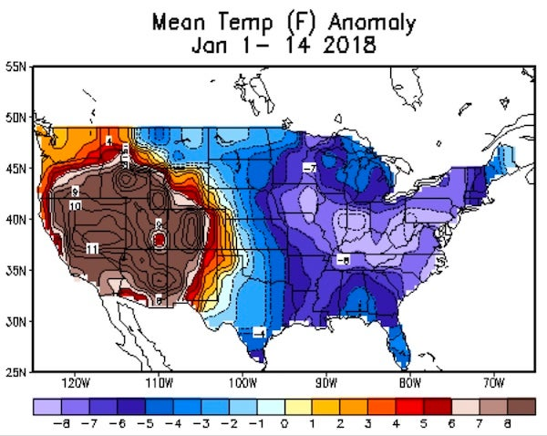 Extreme temperature workout the gyrations of january 2018 by bob departures from average temperature for the period jan 1 14 2018 with the us divided between a colder than average east and a warmer than average west sciox Choice Image