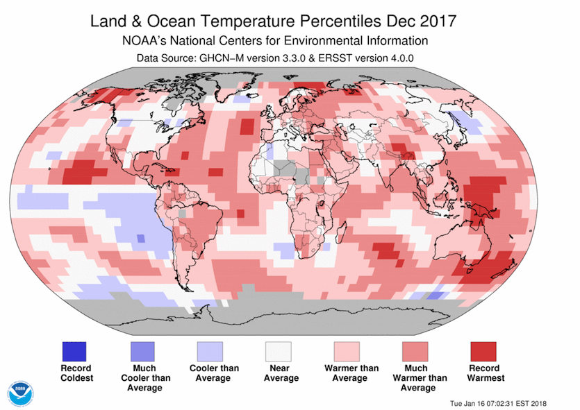 Temperature percentiles for land and ocean areas across Earth in December 2017, as compared to all Decembers from 1880 to 2017