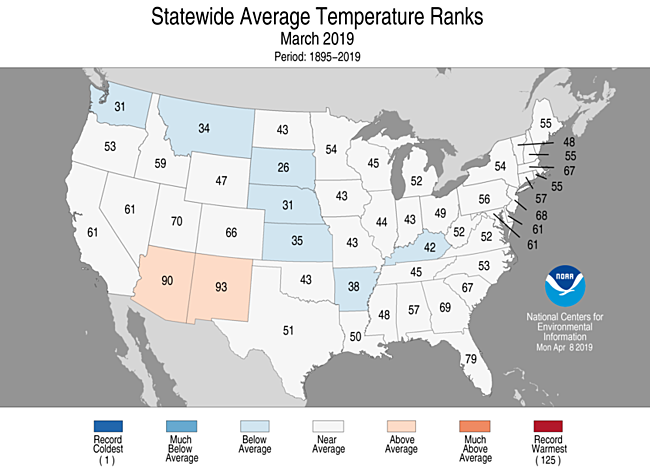 Statewide rankings for average temperature for March 2019, as compared to every March since records began in 1895