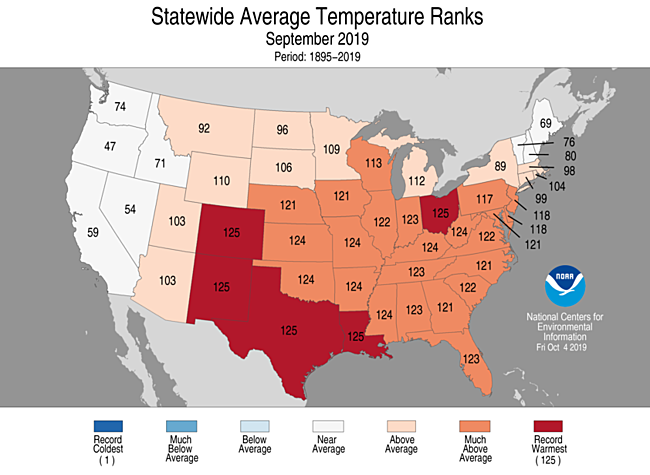 Statewide rankings for average temperature for Sept 2019