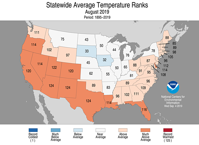 Statewide rankings for average temperature for August 2019