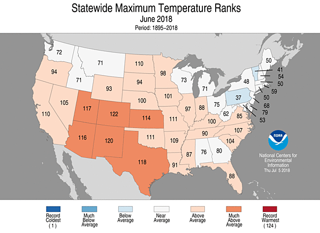 Statewide temperature rankings for June 2018