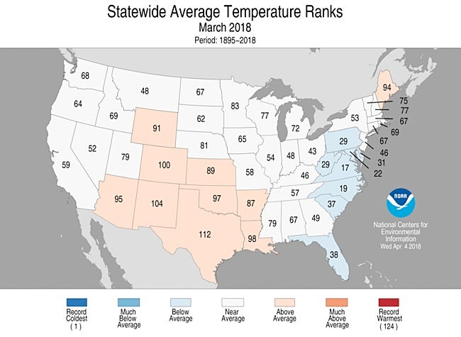 Statewide rankings for average temperature for March 2018