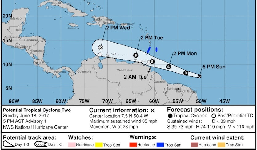Above The First Ever Potential Tropical Cyclone Guidance Issued By The National Hurricane Center Image Credit Noaa Nws Nhc