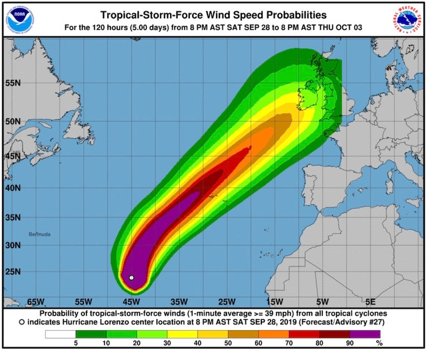 Probability of sustained winds of tropical-storm strength (39 mph) along the track of Lorenzo as predicted at 0Z Sunday, September 29, 2019