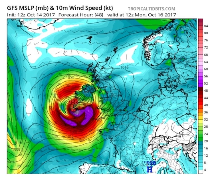 The 12Z Saturday run of the GFS model predicts that Ophelia will be at the southwest tip of Ireland at around 1 PM local time (12Z) on Monday, October 16, 2017