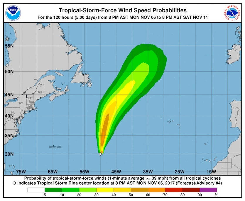 NHC's wind probability forecast for Tropical Storm Rina issued at 8 pm EST Monday evening, November 6, 2017