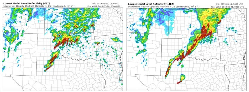Forecast of storm reflectivity and updraft helicity issued by Texas Tech's version of the WRF model on Sunday afternoon for Monday evening, May 20, 2019