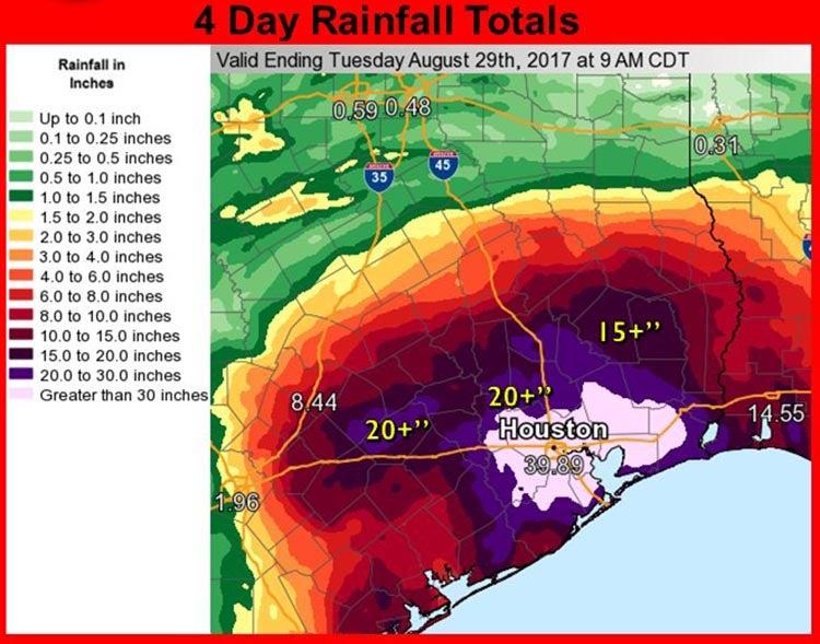 Observed rainfall from Harvey through 9 AM CDT 8/29/2017