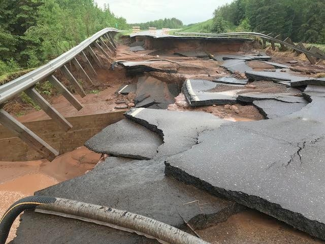 Road washout in northeast Minnesota, 6/17/2018
