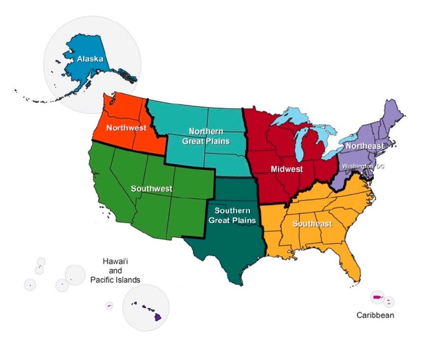 U.S. regions in Climate Science Special Report (CSSR)