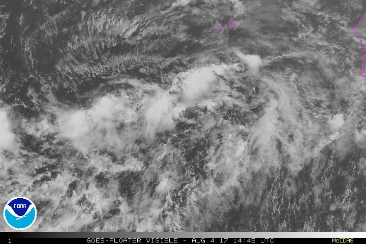 Satellite image of 90L as of 1700Z 8/4/2017