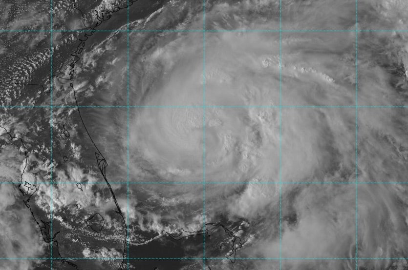 Visible-wavelength satellite image of Tropical Storm Umberto at 2047Z 9/15/19