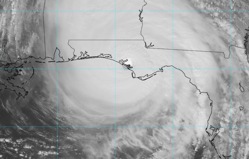 Visible satellite image of Hurricane Michael at 1738Z (1:38 pm EDT) Wednesday, October 10, 2018