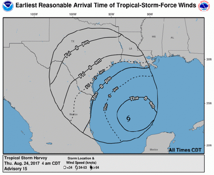 Harvey wind arrival time forecast