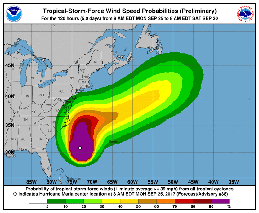 The 11 am Monday NHC forecast for the probability of tropical-storm-force winds for the five days ending at 8 am Saturday, September 30, 2017.