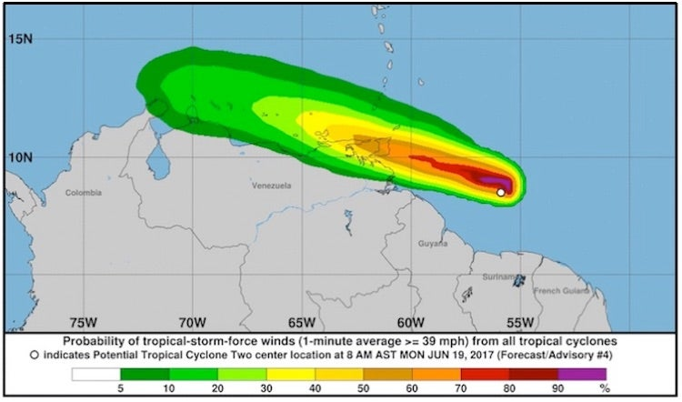 Probabilities of tropical storm force winds with TS Bret, 21Z 6/19/2017