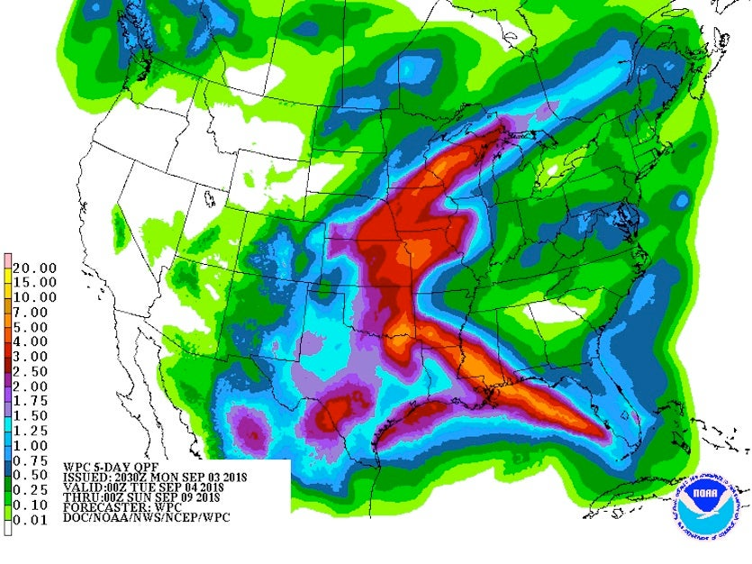 """Figure X.  5-day rainfall totals from 8 pm EDT Monday, September 3, through Friday, September 8, are expected to top 5"""" along a swath from the central Gulf Coast to eastern Oklahoma. Image credit: NOAA/NWS/WPC."""