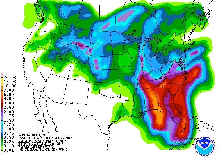 5-day US precipitation forecast, 5/27-6/1/2018