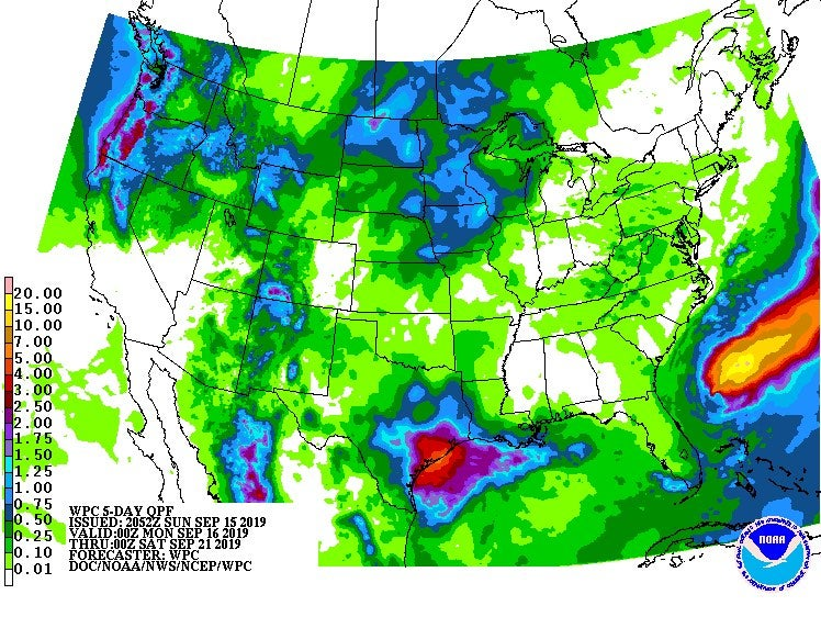 5-day rainfall forecast from 8 pm EDT 9/15/19