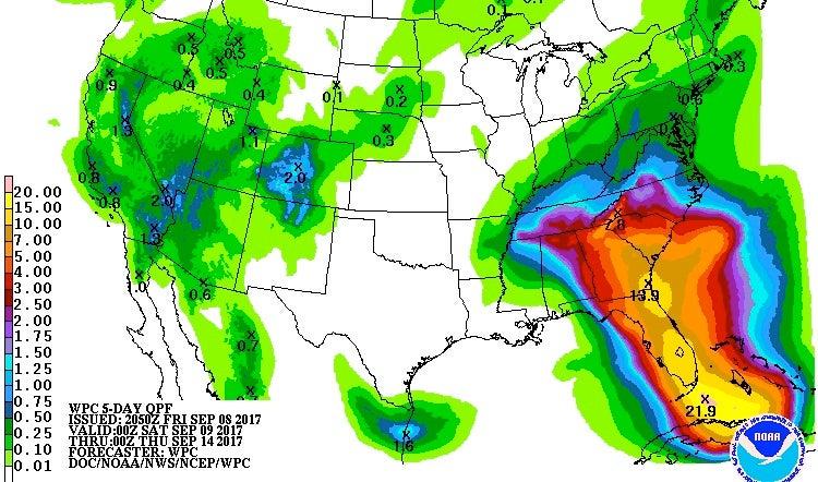 5-day precipitation forecast for Irma, 0Z 9/9/2017