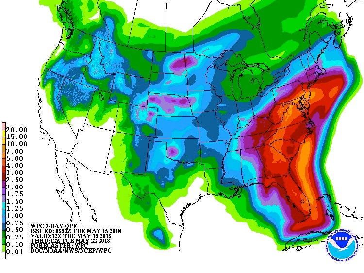 7-day precipitation outlook, 5/15/2018