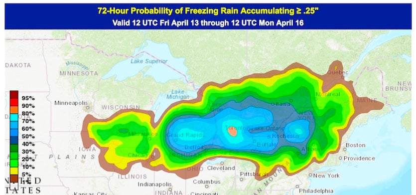 72-hour odds of freezing rain, issued 12Z 4/13/18