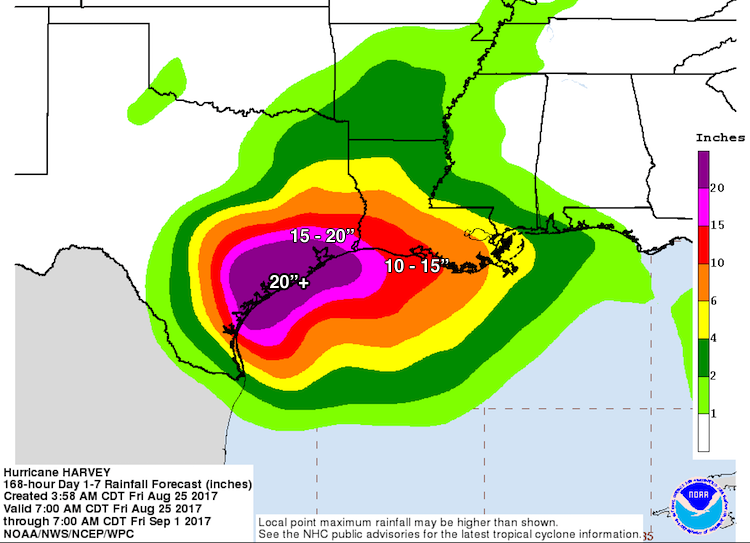 Harvey rainfall forecast