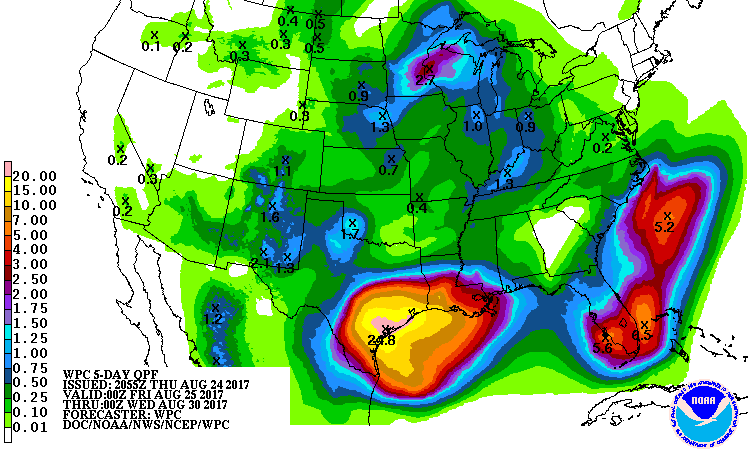 5-day precipitation forecast for Harvey, 0Z 8/25/2017