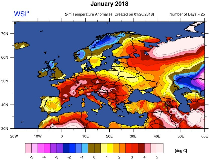 Temperature anomalies for Europe, Jan 1-25, 2018