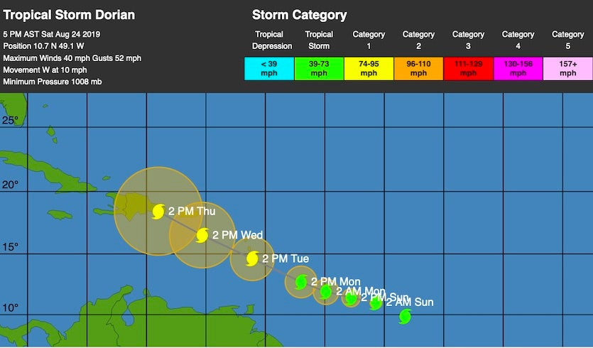WU depiction of NHC forecast track for TS Dorian at 21Z 8/24/19