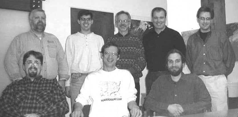 The founders of Weather Underground in 1998, plus their first employee