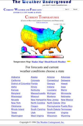WU homepage, 1996