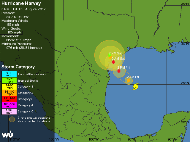 WU depiction of NHC forecast for Harvey, 21Z 8/24/2017