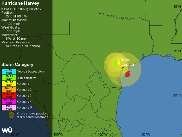 WU depiction of NHC forecast for Harvey, 21Z 8/25/2017