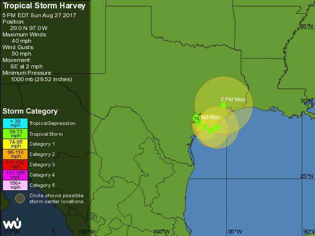 Wu Depiction Of Official Nhc Forecast For Tropical Storm Harvey As Of 4 00 Pm Cdt Sunday August 27 2017 Harvey Is Predicted To Carry Out A Very Gradual