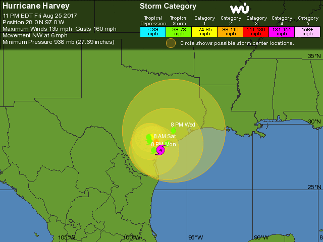 WU 5-day tracking map for TS Harvey, 03Z 8/26/2017