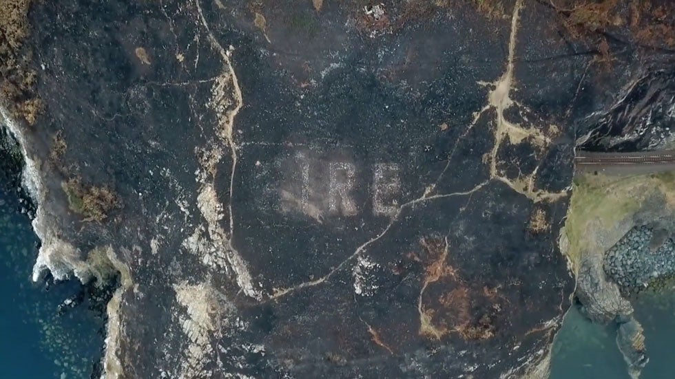 Scorched earth from wildfire reveals WWII artifact in Ireland